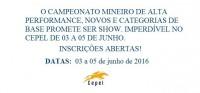 Comunicado Campeonato Mineiro Alta Performance, Categorias de Base e CN