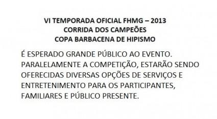 VI TEMPORADA OFICIAL FHMG E COPA BARBACENA DE HIPISMO